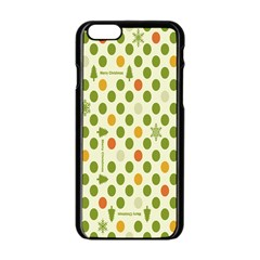 Merry Christmas Polka Dot Circle Snow Tree Green Orange Red Gray Apple Iphone 6/6s Black Enamel Case by Mariart