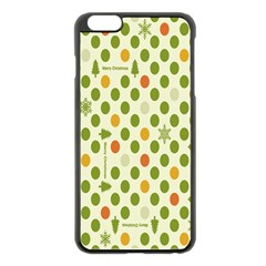 Merry Christmas Polka Dot Circle Snow Tree Green Orange Red Gray Apple Iphone 6 Plus/6s Plus Black Enamel Case by Mariart