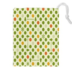Merry Christmas Polka Dot Circle Snow Tree Green Orange Red Gray Drawstring Pouches (xxl) by Mariart