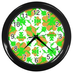 Graphic Floral Seamless Pattern Mosaic Wall Clocks (black) by dflcprints