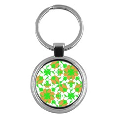 Graphic Floral Seamless Pattern Mosaic Key Chains (round)  by dflcprints