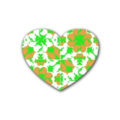 Graphic Floral Seamless Pattern Mosaic Heart Coaster (4 Pack)  by dflcprints