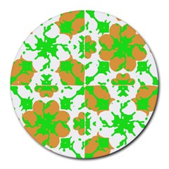 Graphic Floral Seamless Pattern Mosaic Round Mousepads by dflcprints