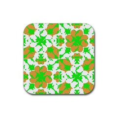 Graphic Floral Seamless Pattern Mosaic Rubber Square Coaster (4 Pack)  by dflcprints