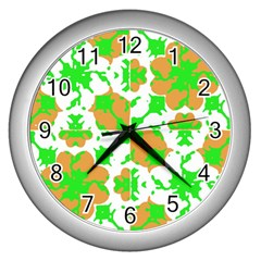 Graphic Floral Seamless Pattern Mosaic Wall Clocks (silver)  by dflcprints