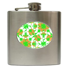 Graphic Floral Seamless Pattern Mosaic Hip Flask (6 Oz) by dflcprints