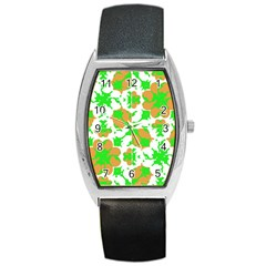 Graphic Floral Seamless Pattern Mosaic Barrel Style Metal Watch by dflcprints
