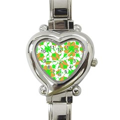 Graphic Floral Seamless Pattern Mosaic Heart Italian Charm Watch by dflcprints