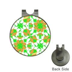 Graphic Floral Seamless Pattern Mosaic Hat Clips With Golf Markers by dflcprints