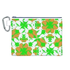 Graphic Floral Seamless Pattern Mosaic Canvas Cosmetic Bag (l) by dflcprints