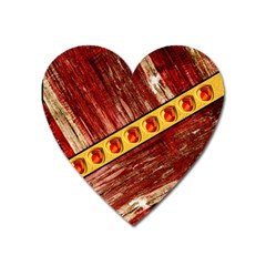 Wood And Jewels Heart Magnet