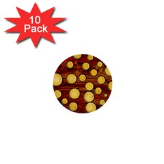Wood And Gold 1  Mini Buttons (10 Pack)