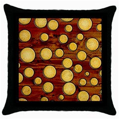 Wood And Gold Throw Pillow Case (black)