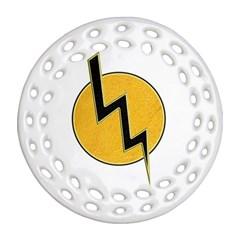 Lightning Bolt Round Filigree Ornament (two Sides)