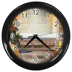 Ghostly Floating Pumpkins Wall Clocks (black) by canvasngiftshop