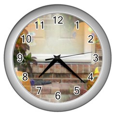 Ghostly Floating Pumpkins Wall Clocks (silver)  by canvasngiftshop