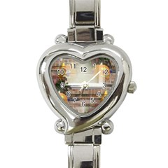 Ghostly Floating Pumpkins Heart Italian Charm Watch by canvasngiftshop