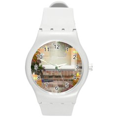 Ghostly Floating Pumpkins Round Plastic Sport Watch (m) by canvasngiftshop