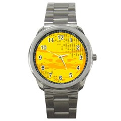 Texture Yellow Abstract Background Sport Metal Watch by Nexatart