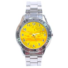 Texture Yellow Abstract Background Stainless Steel Analogue Watch by Nexatart