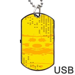Texture Yellow Abstract Background Dog Tag USB Flash (Two Sides) by Nexatart