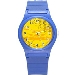 Texture Yellow Abstract Background Round Plastic Sport Watch (s)
