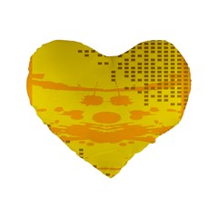 Texture Yellow Abstract Background Standard 16  Premium Flano Heart Shape Cushions by Nexatart