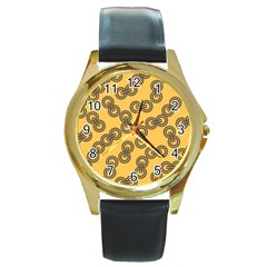 Abstract Shapes Links Design Round Gold Metal Watch by Nexatart