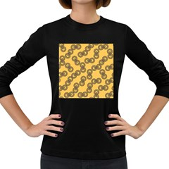 Abstract Shapes Links Design Women s Long Sleeve Dark T Shirts