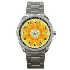 Sunshine Sunny Sun Abstract Yellow Sport Metal Watch