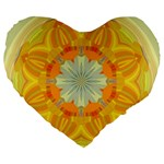 Sunshine Sunny Sun Abstract Yellow Large 19  Premium Heart Shape Cushions Front