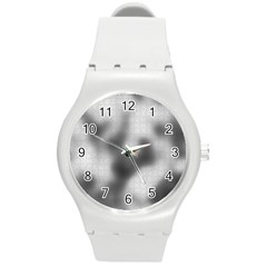 Puzzle Grey Puzzle Piece Drawing Round Plastic Sport Watch (m)