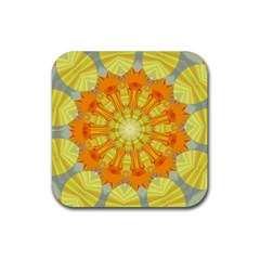 Sunshine Sunny Sun Abstract Yellow Rubber Square Coaster (4 Pack)  by Nexatart