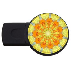Sunshine Sunny Sun Abstract Yellow Usb Flash Drive Round (2 Gb) by Nexatart