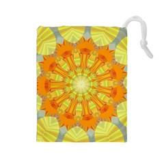 Sunshine Sunny Sun Abstract Yellow Drawstring Pouches (large)  by Nexatart