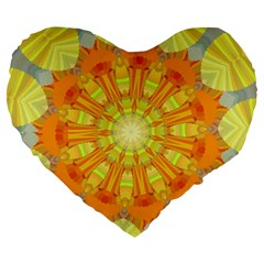 Sunshine Sunny Sun Abstract Yellow Large 19  Premium Flano Heart Shape Cushions by Nexatart