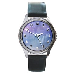 Business Background Blue Corporate Round Metal Watch