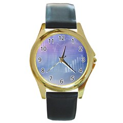Business Background Blue Corporate Round Gold Metal Watch