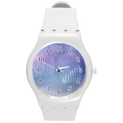 Business Background Blue Corporate Round Plastic Sport Watch (m) by Nexatart