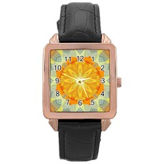 Sunshine Sunny Sun Abstract Yellow Rose Gold Leather Watch