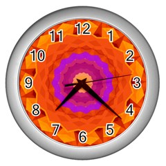 Mandala Orange Pink Bright Wall Clocks (silver)
