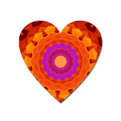 Mandala Orange Pink Bright Heart Magnet by Nexatart
