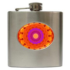 Mandala Orange Pink Bright Hip Flask (6 Oz)
