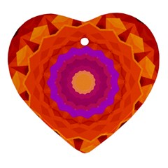 Mandala Orange Pink Bright Heart Ornament (two Sides)