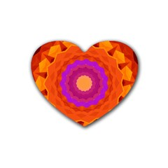 Mandala Orange Pink Bright Rubber Coaster (heart)  by Nexatart
