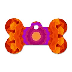 Mandala Orange Pink Bright Dog Tag Bone (two Sides) by Nexatart