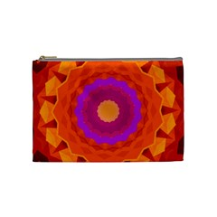 Mandala Orange Pink Bright Cosmetic Bag (medium)