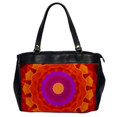 Mandala Orange Pink Bright Office Handbags by Nexatart