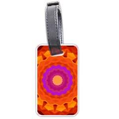Mandala Orange Pink Bright Luggage Tags (one Side)  by Nexatart