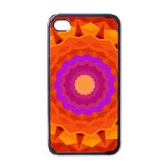 Mandala Orange Pink Bright Apple Iphone 4 Case (black) by Nexatart